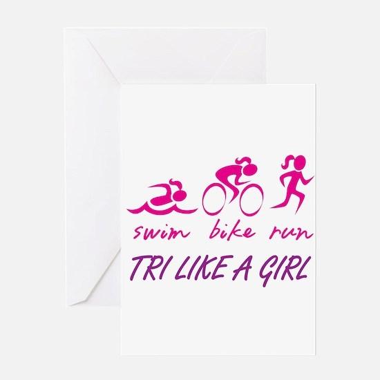 TRI LIKE A GIRL Greeting Card