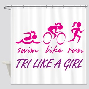 TRI LIKE A GIRL Shower Curtain