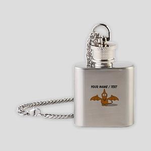 Custom Orange Pterodactyl Cartoon Flask Necklace