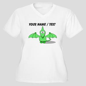 Custom Green Pterodactyl Cartoon Plus Size T-Shirt