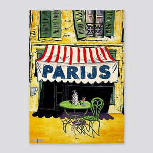 Vintage Paris France Travel 5'x7'Area Rug