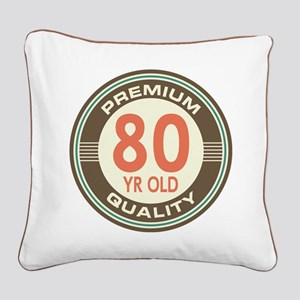 80th Birthday Vintage Square Canvas Pillow