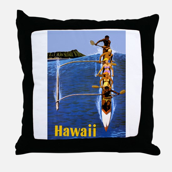 Vintage Hawaii Boat Travel Throw Pillow