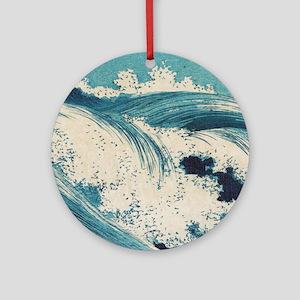 Vintage Waves Japanese Woodcut Ocean Ornament (Rou