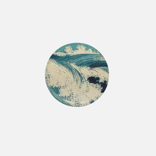 Vintage Waves Japanese Woodcut Ocean Mini Button