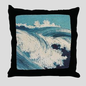 Vintage Waves Japanese Woodcut Ocean Throw Pillow