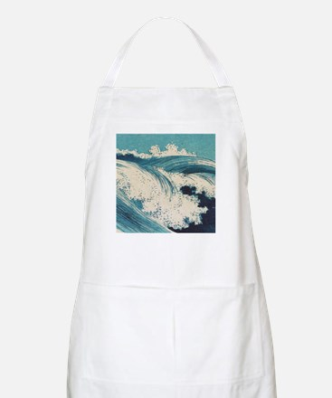 Vintage Waves Japanese Woodcut Ocean Apron
