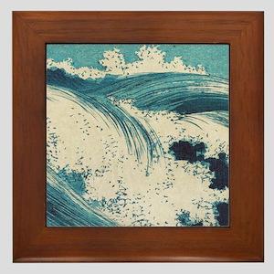 Vintage Waves Japanese Woodcut Ocean Framed Tile