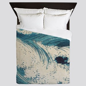 Vintage Waves Japanese Woodcut Ocean Queen Duvet