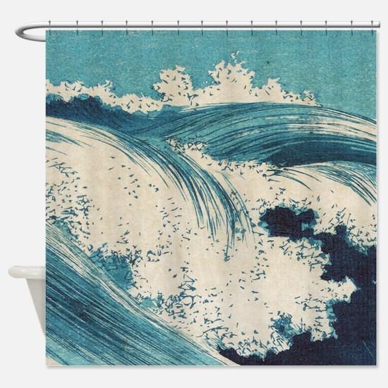Vintage Waves Japanese Woodcut Ocean Shower Curtai