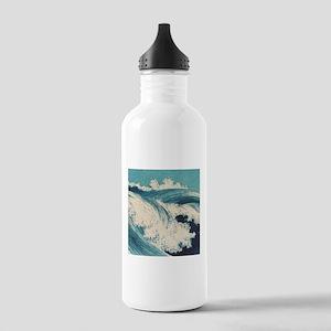 Vintage Waves Japanese Woodcut Ocean Water Bottle