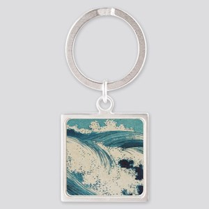 Vintage Waves Japanese Woodcut Ocean Keychains