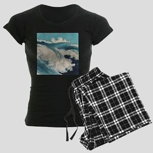Vintage Waves Japanese Woodcut Ocean Pajamas