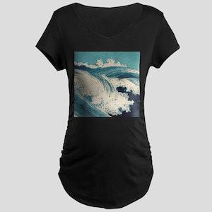 Vintage Waves Japanese Woodcut Ocean Maternity T-S