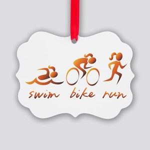 Swim Bike Run (Gold Girl) Picture Ornament