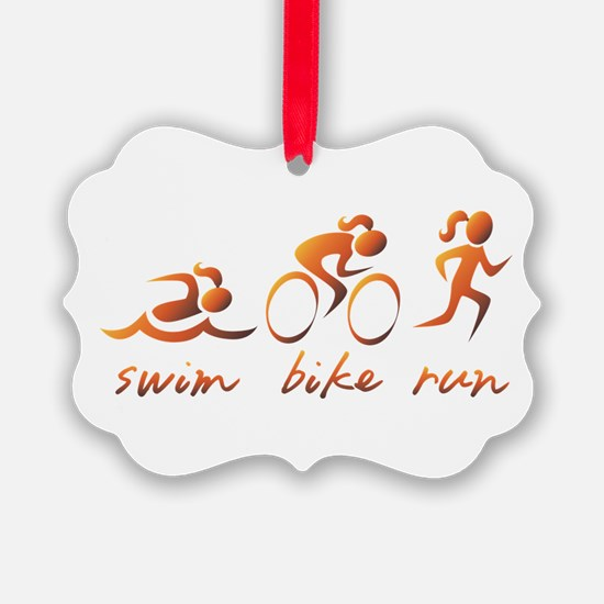 Swim Bike Run (Gold Girl) Ornament