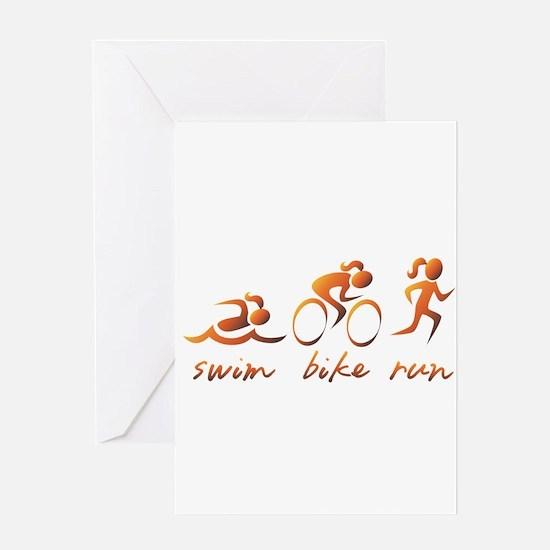 Swim Bike Run (Gold Girl) Greeting Card