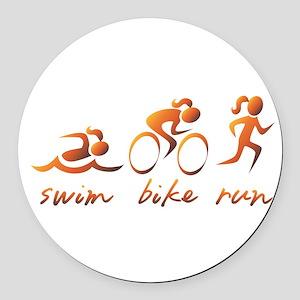 Swim Bike Run (Gold Girl) Round Car Magnet