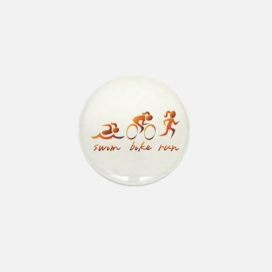 Swim Bike Run (Gold Girl) Mini Button