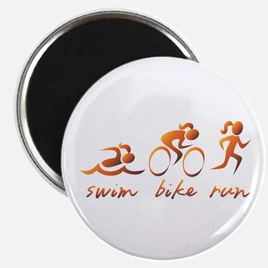 Swim Bike Run (Gold Girl) Magnet