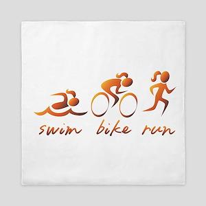 Swim Bike Run (Gold Girl) Queen Duvet