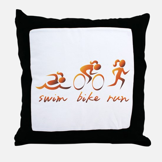 Swim Bike Run (Gold Girl) Throw Pillow