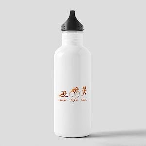 Swim Bike Run (Gold Girl) Stainless Water Bottle 1