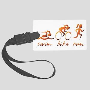 Swim Bike Run (Gold Girl) Large Luggage Tag