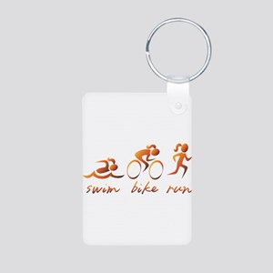 Swim Bike Run (Gold Girl) Aluminum Photo Keychain