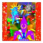 "Science Disco Cupid Square Car Magnet 3"" x 3&"