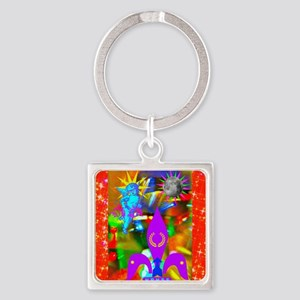 Science Disco Cupid Square Keychain