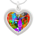 Science Disco Cupid Silver Heart Necklace