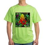 Hawaiian Torch Heliconia & Butterflies Green T-Shi