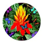 Hawaiian Torch Heliconia & Butterflies Round C