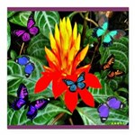 Hawaiian Torch Heliconia & Butterflies Square