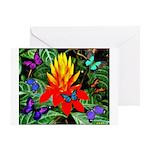 Hawaiian Torch Heliconia & Butterflies Greetin