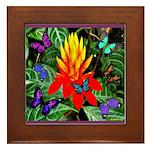 Hawaiian Torch Heliconia & Butterflies Framed