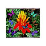 Hawaiian Torch Heliconia & Butterflies Throw B