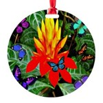 Hawaiian Torch Heliconia & Butterflies Round O