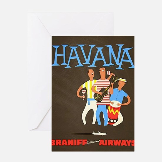 Havana, Cuba, Travel, Vintage Poster Greeting Card