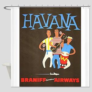 Havana, Cuba, Travel, Vintage Poster Shower Curtai