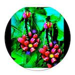 Mystic Hawaiian Banana Flower Round Car Magnet