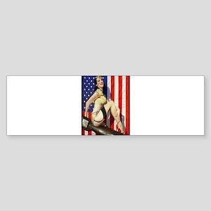 2 Military Pin Ups Bumper Sticker