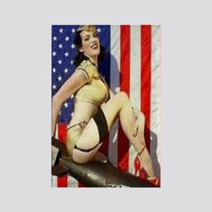 2 Military Pin Ups Rectangle Magnet