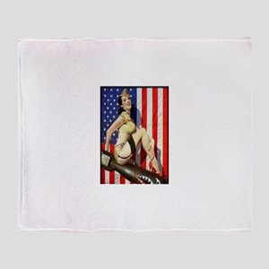 2 Military Pin Ups Throw Blanket