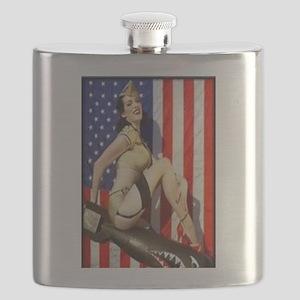 2 Military Pin Ups Flask