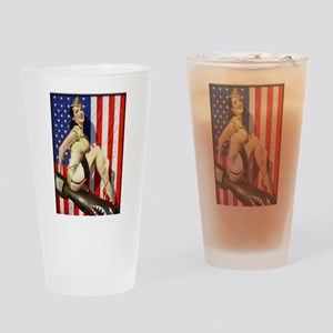2 Military Pin Ups Drinking Glass