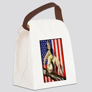 2 Military Pin Ups Canvas Lunch Bag