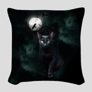 Cat under Full Moon Woven Throw Pillow