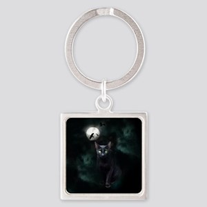 Cat under Full Moon Keychains